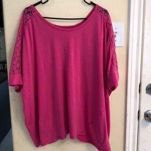 EUC Lane Bryant Bright Pink Lace Top T-shirt 22/24